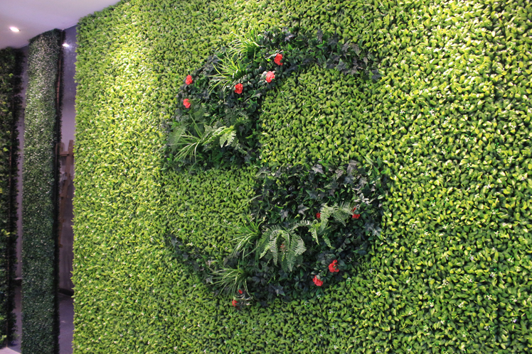 artificial greenery panels for plant logo